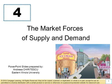 PowerPoint Slides prepared by: Andreea CHIRITESCU Eastern Illinois University 4 The Market Forces of Supply and Demand © 2015 Cengage Learning. All Rights.