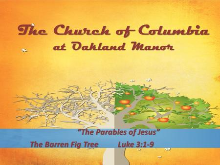 "The Church of Columbia at Oakland Manor ""The Parables of Jesus"" The Barren Fig TreeLuke 3:1-9."
