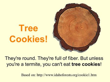 Tree Cookies! They're round. They're full of fiber. But unless you're a termite, you can't eat tree cookies! Based on: http://www.idahoforests.org/cookie1.htm.