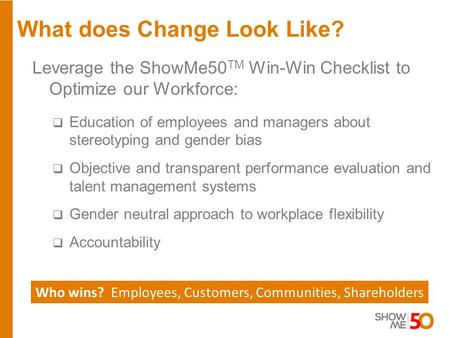 What does Change Look Like? Who wins? Employees, Customers, Communities, Shareholders Leverage the ShowMe50 TM Win-Win Checklist to Optimize our Workforce: