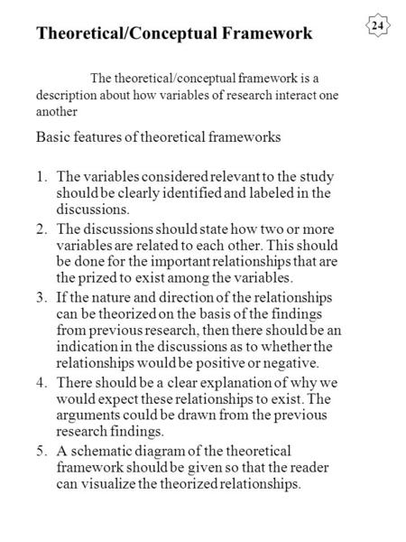 Theoretical/Conceptual Framework The theoretical/conceptual framework is a description about how variables of research interact one another Basic features.