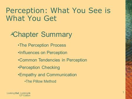 1 Perception: What You See is What You Get Looking Out, Looking In 12 th Edition  Chapter Summary The Perception Process Influences on Perception Common.