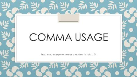 COMMA USAGE Trust me, everyone needs a review in this…