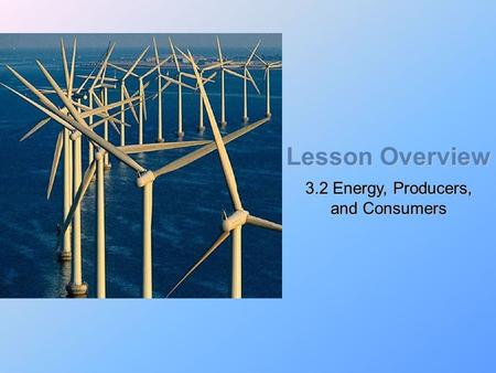 Lesson Overview 3.2 Energy, Producers, and Consumers.
