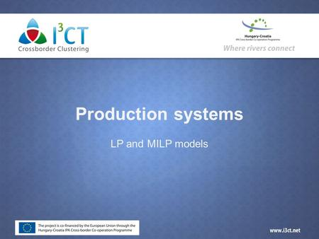 Production systems LP and MILP models. Introduction  Linear programing (LP) is a base tool in optimization  George B. Dantzig developed the simplex.