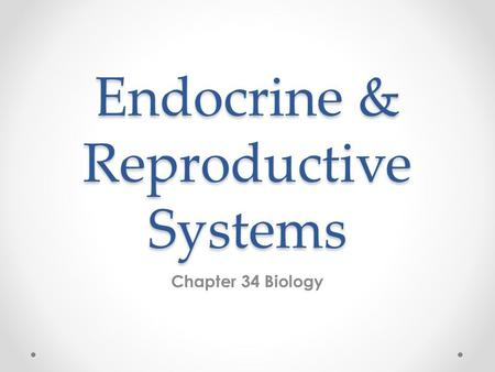 Endocrine & Reproductive Systems Chapter 34 Biology.