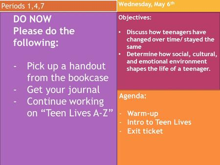 Wednesday, May 6 th Wednesday, May 6 th Objectives: Discuss how teenagers have changed over time/ stayed the same Determine how social, cultural, and emotional.