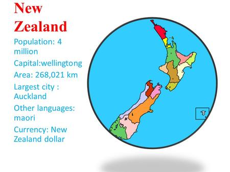 New Zealand Population: 4 million Capital:wellingtong Area: 268,021 km Largest city : Auckland Other languages: maori Currency: New Zealand dollar.