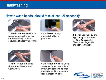 How to wash hands (should take at least 20 seconds): 1. Wet hands and arms. Use running water as hot as you can comfortably stand. It should be at least.