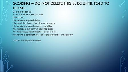 SCORING – DO NOT DELETE THIS SLIDE UNTIL TOLD TO DO SO 25 pts total per SS 12 of the 25 pts is the last slide Deductions Not deleting required slides Not.