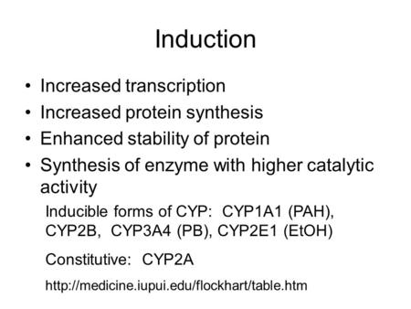 Induction Increased transcription Increased protein synthesis Enhanced stability of protein Synthesis of enzyme with higher catalytic activity Inducible.