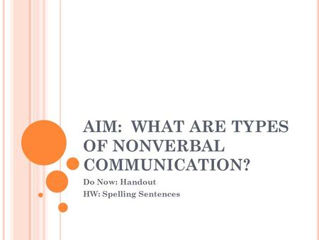 AIM: WHAT ARE TYPES OF NONVERBAL COMMUNICATION? Do Now: Handout HW: Spelling Sentences.