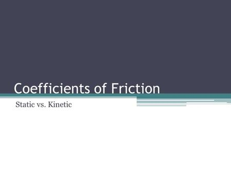 Coefficients of Friction Static vs. Kinetic. Static Friction The force that opposes the start of motion between two objects in contact with one another.