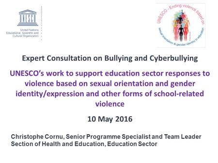 Expert Consultation on Bullying and Cyberbullying UNESCO's work to support education sector responses to violence based on sexual orientation and gender.