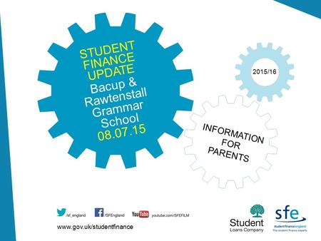Www.gov.uk/studentfinance 2015/16 INFORMATION FOR PARENTS STUDENT FINANCE UPDATE Bacup & Rawtenstall Grammar School 08.07.15.