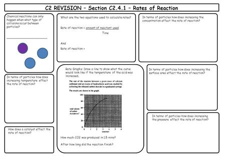 What are the two equations used to calculate rates? Rate of reaction = amount of reactant used Time And Rate of reaction = C2 REVISION – Section C2.4.1.