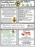 Weekly News Sept. 14-18, 2015 September 17: MES Grand Opening 5:00-6:00 p.m. September 21-25: Scholastic Book Fair at MES September 22: PTSO Meeting and.