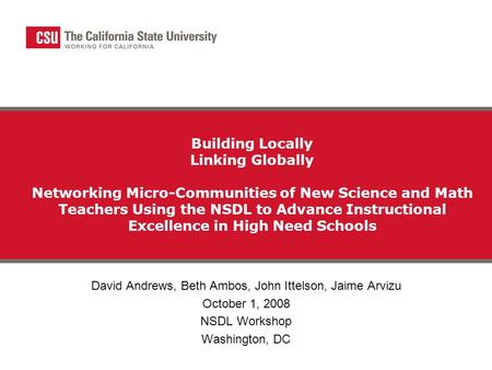 Building Locally Linking Globally Networking Micro-Communities of New Science and Math Teachers Using the NSDL to Advance Instructional Excellence in High.