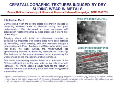 CRYSTALLOGRAPHIC TEXTURES INDUCED BY DRY SLIDING WEAR IN METALS Pascal Bellon, University of Illinois at Illinois at Urbana-Champaign, DMR 0906703 Intellectual.