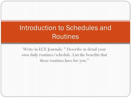 Introduction to Schedules and Routines