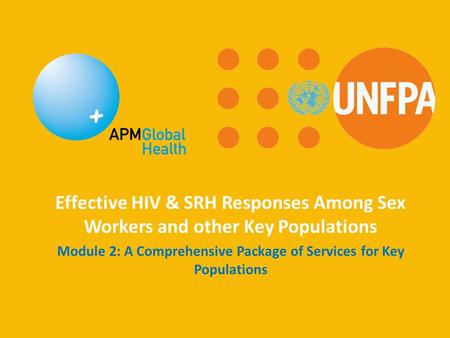 Effective HIV & SRH Responses Among Sex Workers and other Key Populations Module 2: A Comprehensive Package of Services for Key Populations.