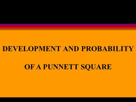 DEVELOPMENT AND PROBABILITY OF A PUNNETT SQUARE. LESSON OBJECTIVES Explain the Mendelian Principles of Dominance, Segregation, and Independent Assortment.