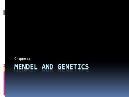 Chapter 14. Mendel and Heredity  Gregor Mendel – Austrian Munk  Worked with heredity in pea plants  Wanted to determine how characters and traits were.