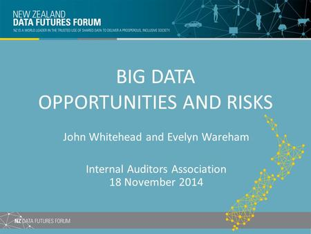 BIG DATA OPPORTUNITIES AND RISKS John Whitehead and Evelyn Wareham Internal Auditors Association 18 November 2014.