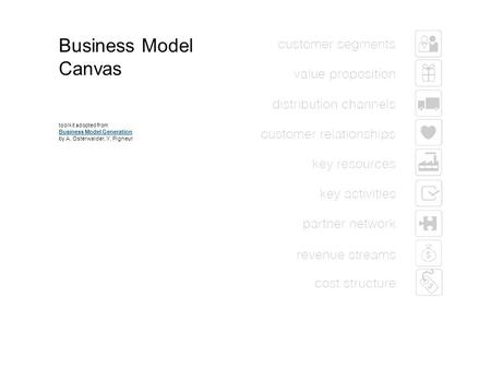 1 Business Model Canvas toolkit adopted from Business Model Generation by A. Osterwalder, Y. Pigneur Business Model Generation.