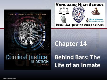 © 2015 Cengage Learning Chapter 14 Behind Bars: The Life of an Inmate Chapter 14 Behind Bars: The Life of an Inmate © 2015 Cengage Learning.