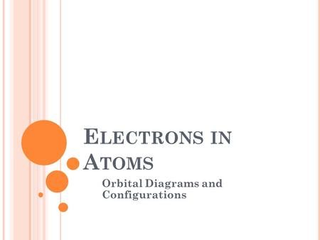 E LECTRONS IN A TOMS Orbital Diagrams and Configurations.