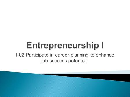 1.02 Participate in career-planning to enhance job-success potential.