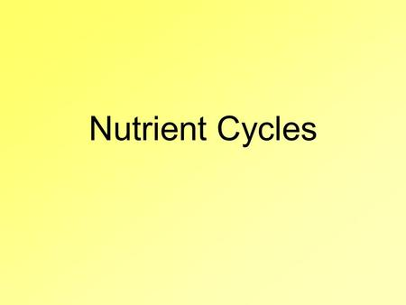 Nutrient Cycles. Heat in the environment Nitrogen cycle Biosphere Heat Phosphorus cycle Carbon cycle Oxygen cycle Water cycle Life on the earth depends.