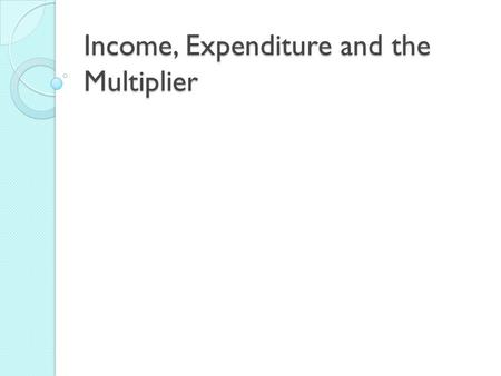 Income, Expenditure and the Multiplier. AP Macroeconomics Consumption & Saving.