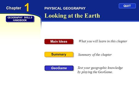 PHYSICAL GEOGRAPHY Looking at the Earth Chapter What you will learn in this chapter Summary of the chapter Test your geographic knowledge by playing the.