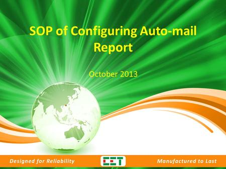 SOP of Configuring Auto-mail Report October 2013.