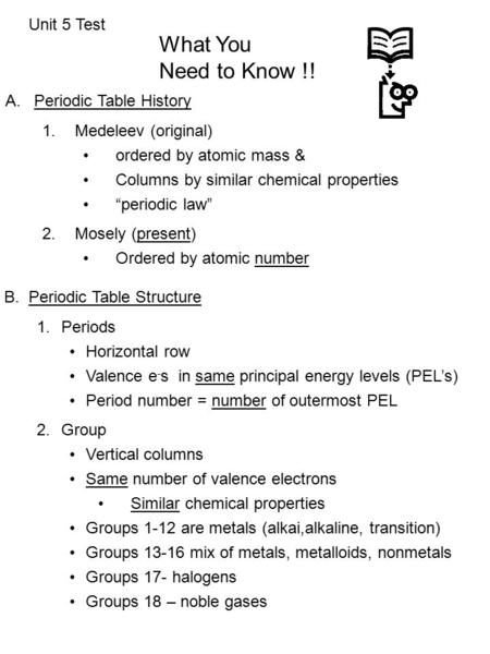 unit 5 test what you need to know aperiodic table history 1 - Periodic Table Unit Test