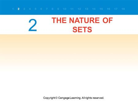 THE NATURE OF SETS Copyright © Cengage Learning. All rights reserved. 2.