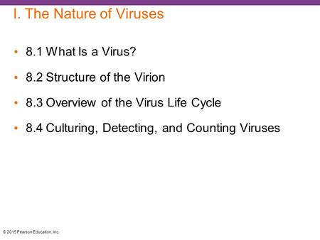 I. The Nature of Viruses 8.1 What Is a Virus?