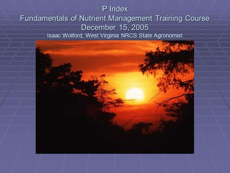 P Index Fundamentals of Nutrient Management Training Course December 15, 2005 Isaac Wolford, West Virginia NRCS State Agronomist.