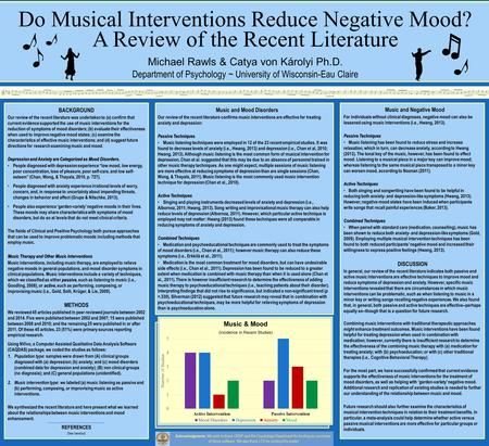 Music and Mood Disorders Our review of the recent literature confirms music interventions are effective for treating anxiety and depression: Passive Techniques.