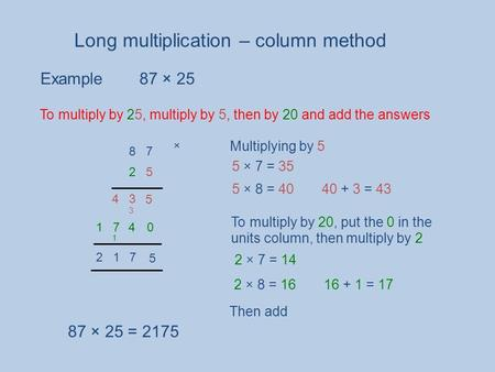 Long multiplication – column method