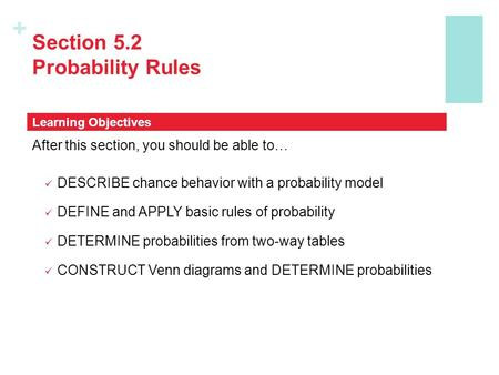 + Section 5.2 Probability Rules After this section, you should be able to… DESCRIBE chance behavior with a probability model DEFINE and APPLY basic rules.