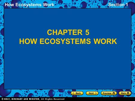 How Ecosystems WorkSection 1 CHAPTER 5 HOW ECOSYSTEMS WORK.
