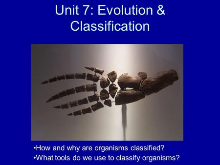 Unit 7: Evolution & Classification How and why are organisms classified? What tools do we use to classify organisms?