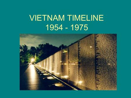 VIETNAM TIMELINE 1954 - 1975. 1954 French defeat at Dien Bien Phu Signing of Geneva Accords – officially ended war between French and Vietnam US support.