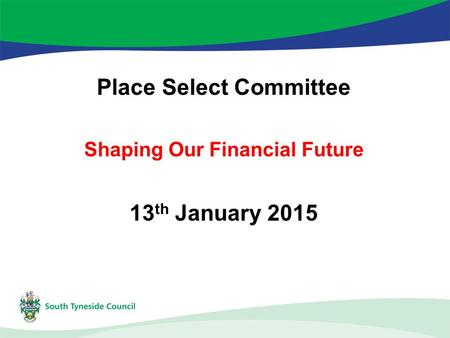 Place Select Committee Shaping Our Financial Future 13 th January 2015.
