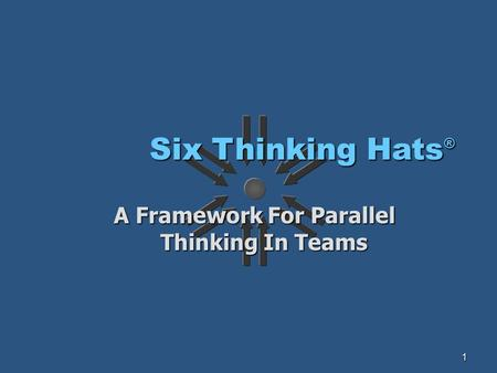 1 Six Thinking Hats ® A Framework For Parallel Thinking In Teams.
