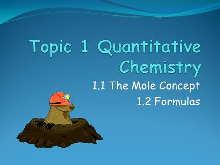 1.1 The Mole Concept 1.2 Formulas. Assessment Objectives 1.1.1 Apply the mole concept to substances. 1.1.2 Determine the number of particles and the amount.