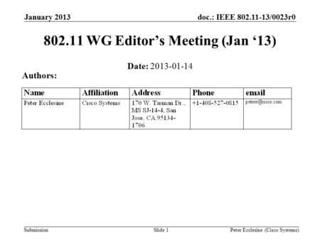 Submission doc.: IEEE 802.11-13/0023r0 Slide 1 802.11 WG Editor's Meeting (Jan '13) Date: 2013-01-14 Authors: Peter Ecclesine (Cisco Systems) January 2013.